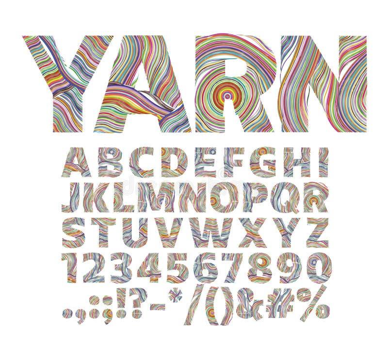 以毛线螺纹的形式创造性的字体 对装饰标签 库存图片