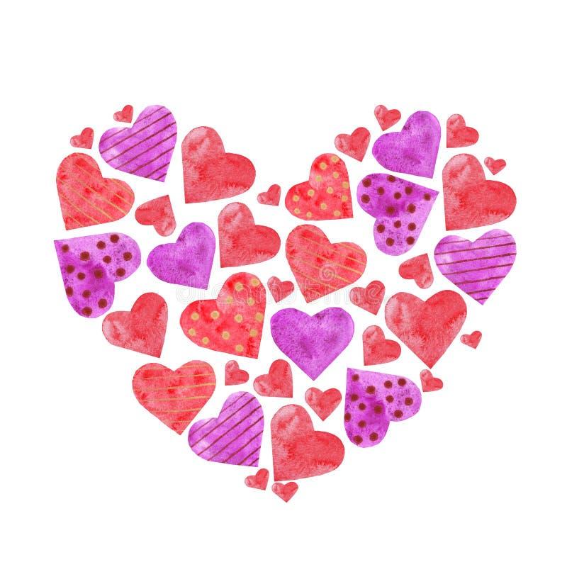 以水彩心脏的形式心脏的构成 库存例证