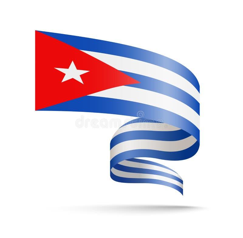 以波浪丝带的形式古巴旗子 向量例证