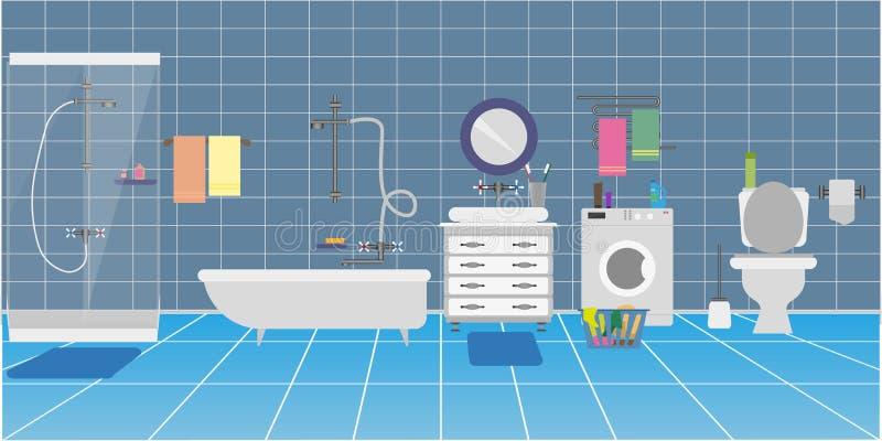 以洗手间或卫生间的内部的形式背景 向量例证
