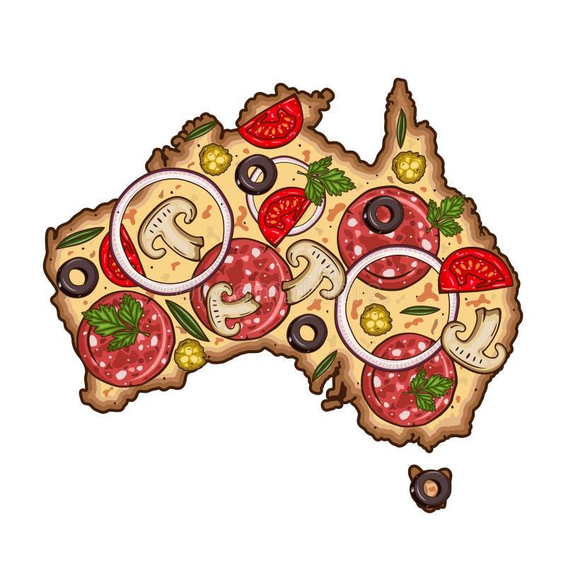 以澳大利亚的地图的形式比萨 动画片传染媒介薄饼 Australiain地图比萨的形式 皇族释放例证