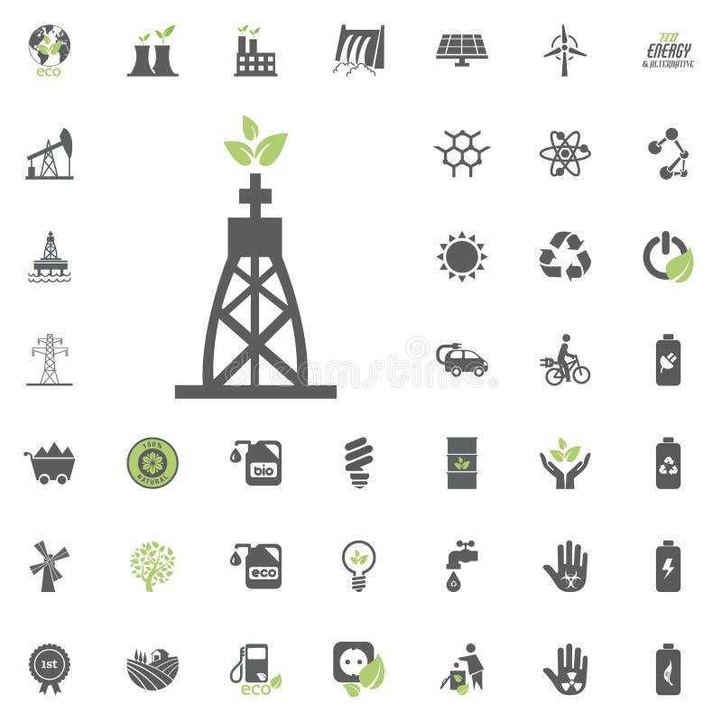 以煤气为燃料的能源厂象 Eco和可选择能源传染媒介象集合 能源电电力资源集合传染媒介 库存例证