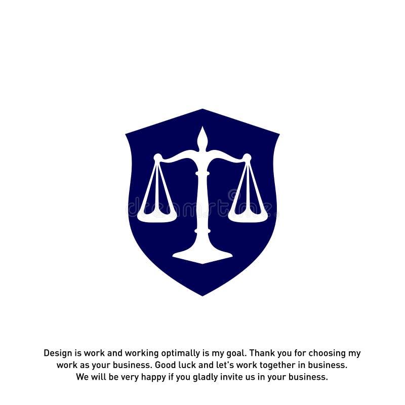 以盾的形式律师事务所商标有希腊专栏和标度的 法官,律师事务所传染媒介 皇族释放例证