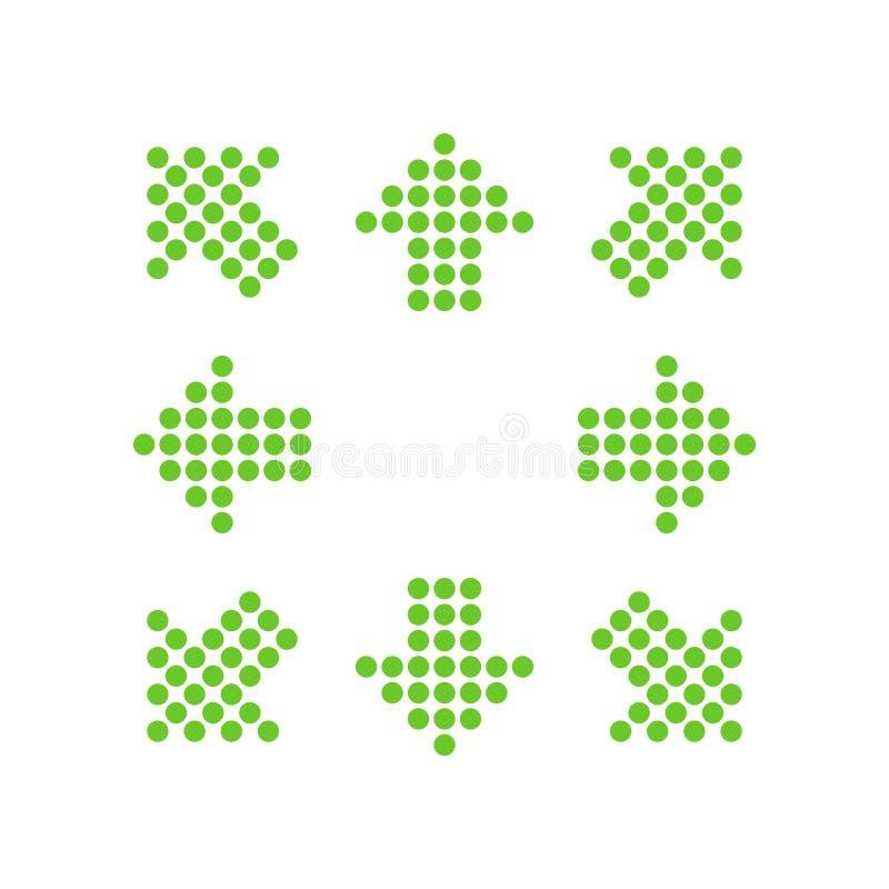 以箭头的形式绿色点在8/eight不同的方向 向量例证