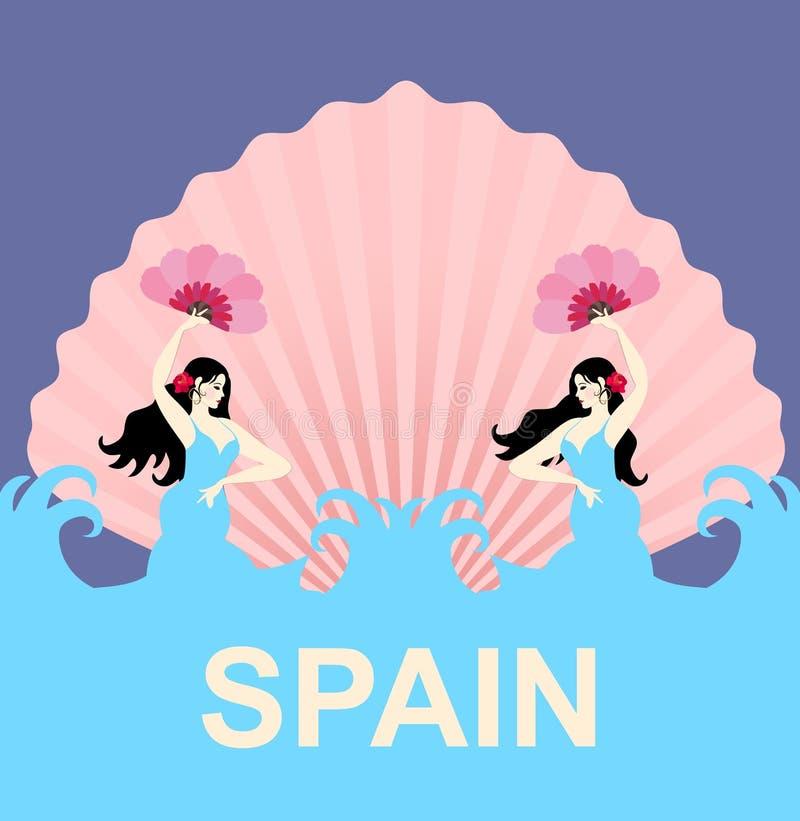 以美人鱼的形式两个西班牙女孩跳舞佛拉明柯舞曲反对波浪和朝阳背景,风格化作为壳 皇族释放例证