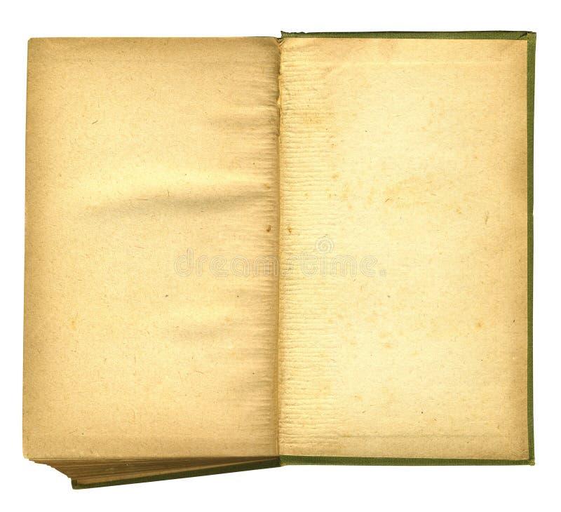 以老开放纸概略的纹理为特色的书 免版税库存照片
