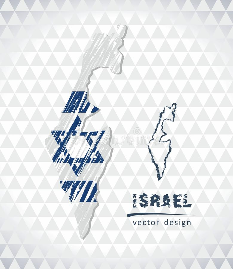 以色列与在白色背景隔绝的旗子里面的传染媒介地图 剪影白垩手拉的例证 向量例证
