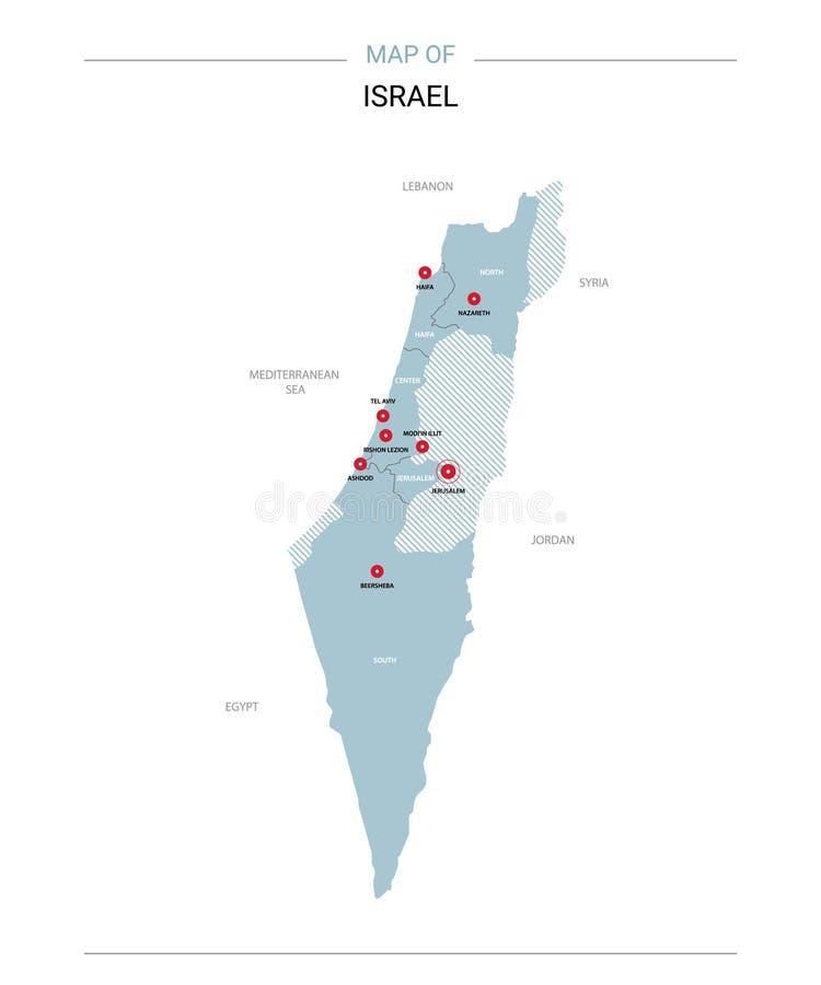 以色列与红色别针的地图传染媒介 皇族释放例证