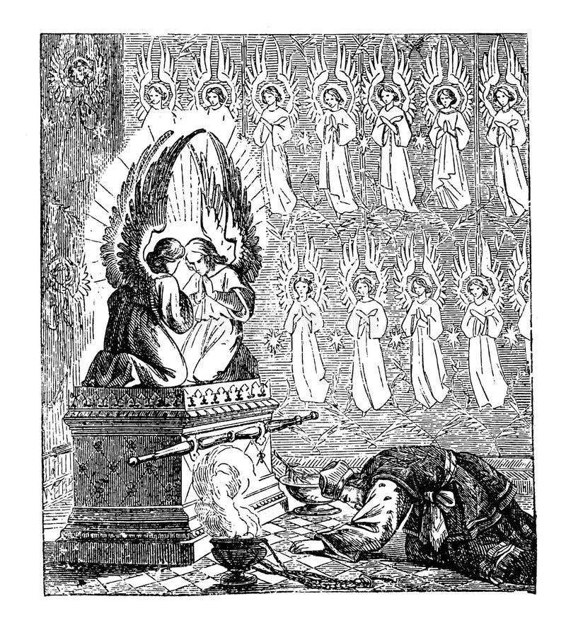 以色列人圣经的故事葡萄酒图画创造会众的临时房屋或帐篷的,摩西祈祷 向量例证