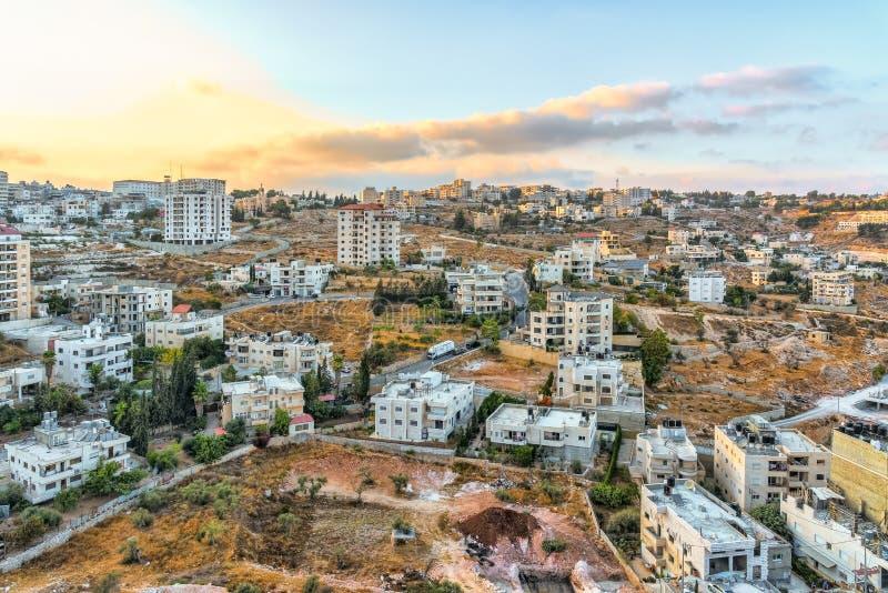 以色列伯利恒,看法从在伯利恒的一个高观点日出的 免版税库存照片