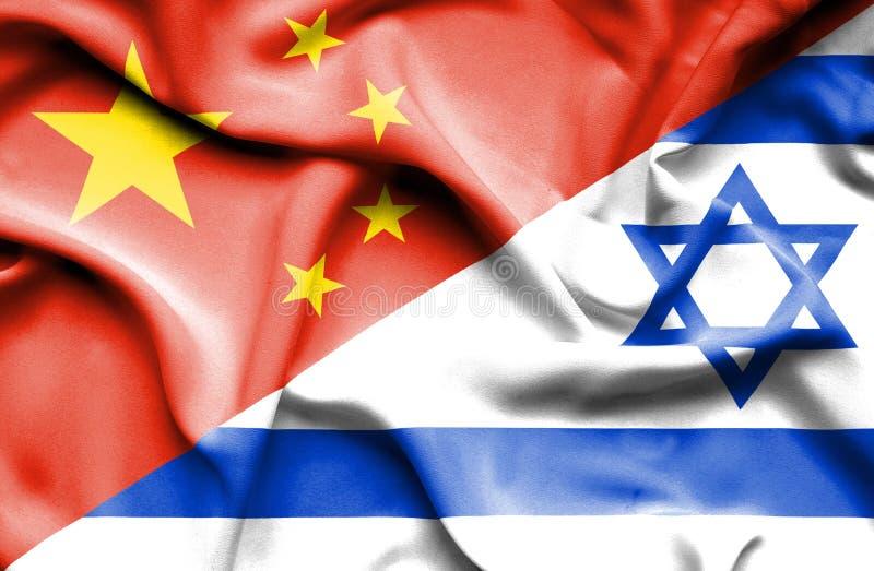 以色列和中国的挥动的旗子 库存例证