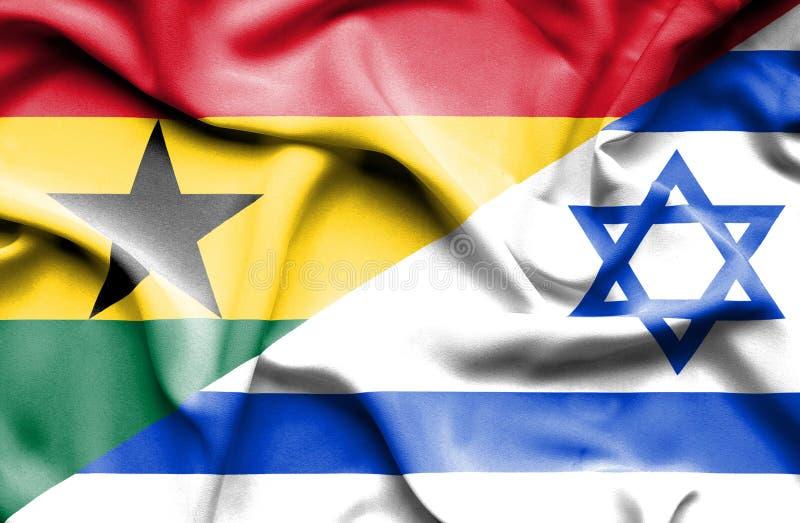 以色列和加纳的挥动的旗子 皇族释放例证