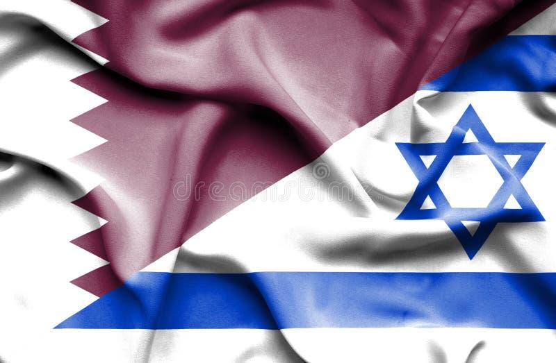 以色列和卡塔尔的挥动的旗子 库存例证