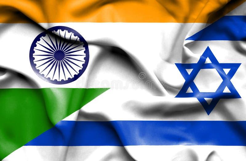 以色列和印度的挥动的旗子 向量例证