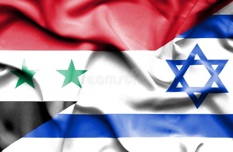 以色列和叙利亚的挥动的旗子 皇族释放例证