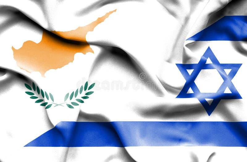 以色列和塞浦路斯挥动的旗子  皇族释放例证