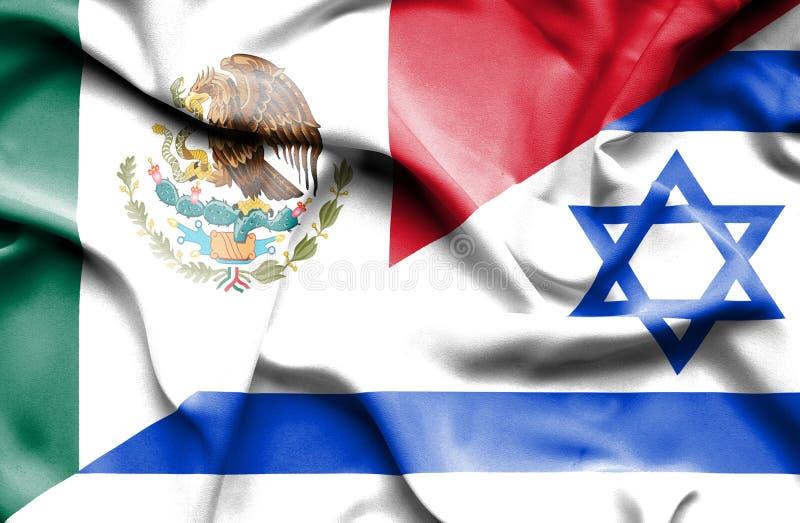 以色列和墨西哥的挥动的旗子 向量例证