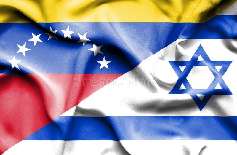 以色列和委内瑞拉的挥动的旗子 向量例证