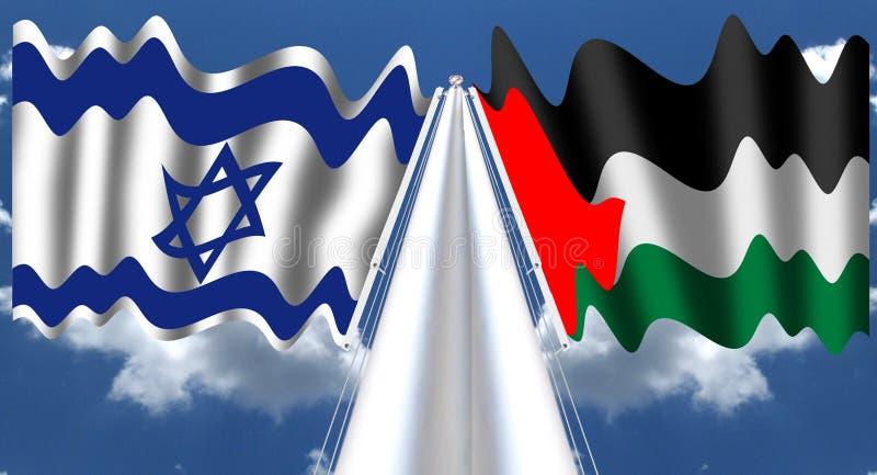 以色列和巴勒斯坦旗子 库存例证