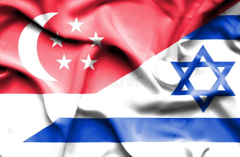 以色列和新加坡挥动的旗子  库存例证