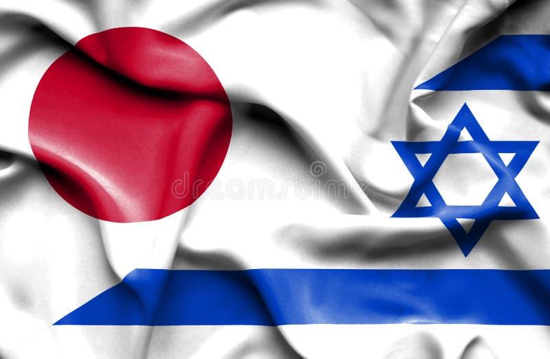 以色列和日本的挥动的旗子 向量例证