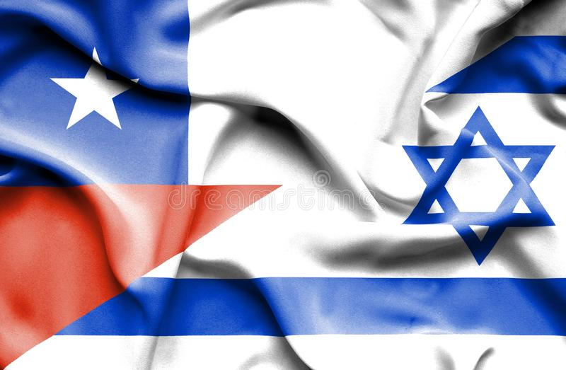 以色列和智利的挥动的旗子 向量例证