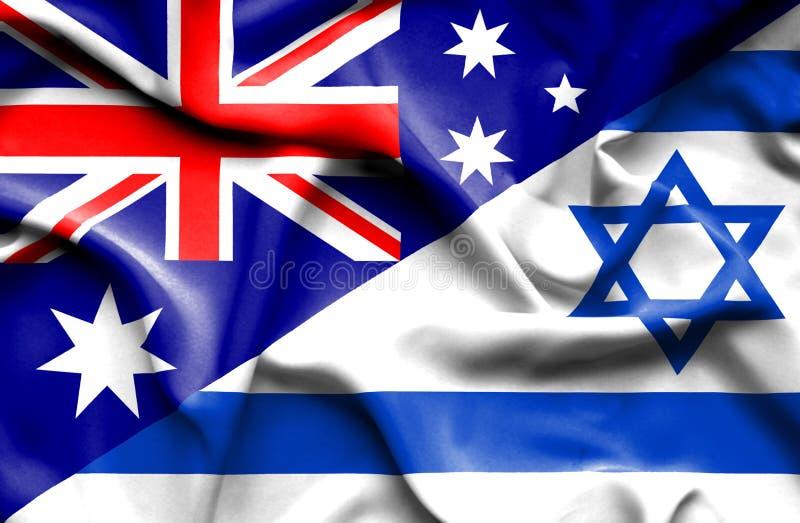 以色列和澳大利亚的挥动的旗子 皇族释放例证