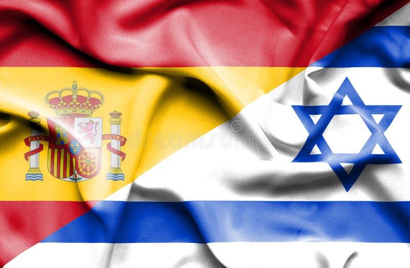以色列和西班牙的挥动的旗子 向量例证