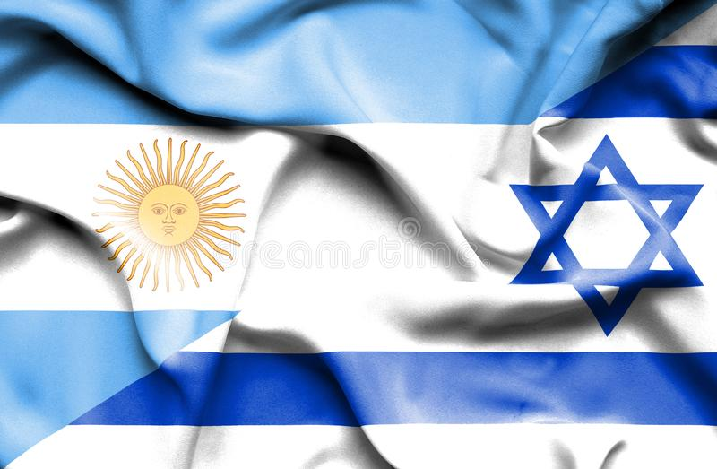 以色列和阿根廷的挥动的旗子 库存例证