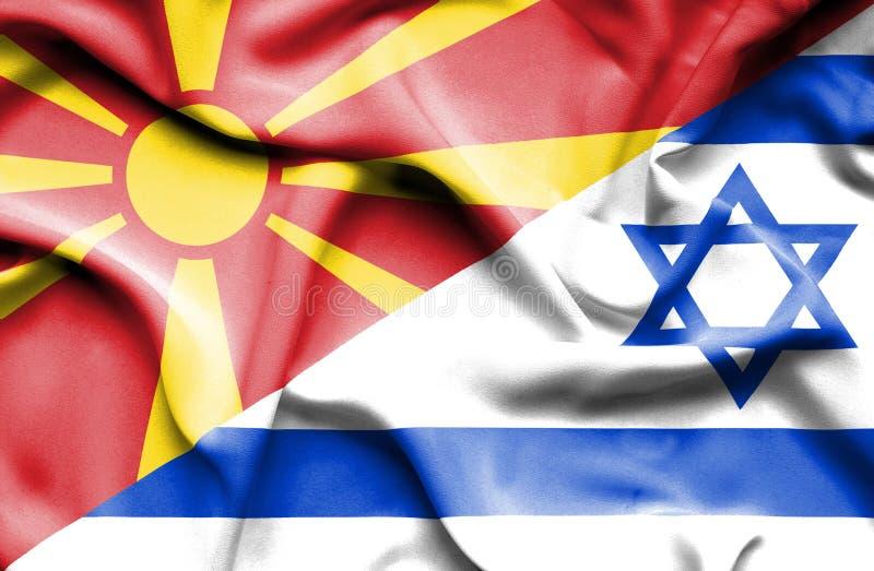 以色列和马其顿的挥动的旗子 向量例证