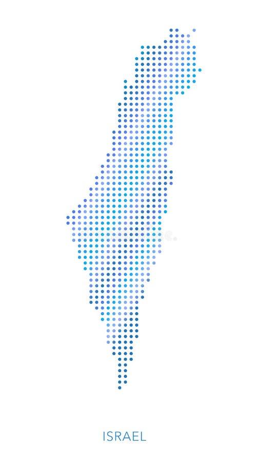 以色列地图,小点传染媒介背景 向量例证