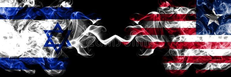 以色列对利比里亚,肩并肩被安置的利比里亚发烟性神秘的旗子 厚实色柔滑抽以色列和利比里亚的旗子, 向量例证