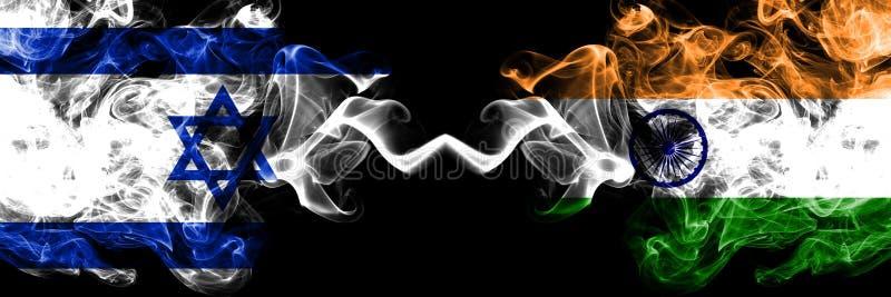 以色列对印度,肩并肩被安置的印度发烟性神秘的旗子 厚实色柔滑抽以色列和印度,印度人的旗子 向量例证
