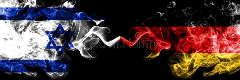 以色列对德国,肩并肩被安置的德国发烟性神秘的旗子 厚实色柔滑抽以色列和德国的旗子,德语 皇族释放例证