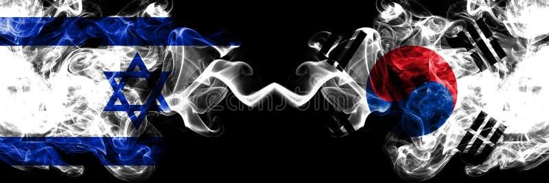 以色列对韩国,肩并肩被安置的韩国发烟性神秘的旗子 厚实色柔滑抽以色列和韩国的旗子, 皇族释放例证