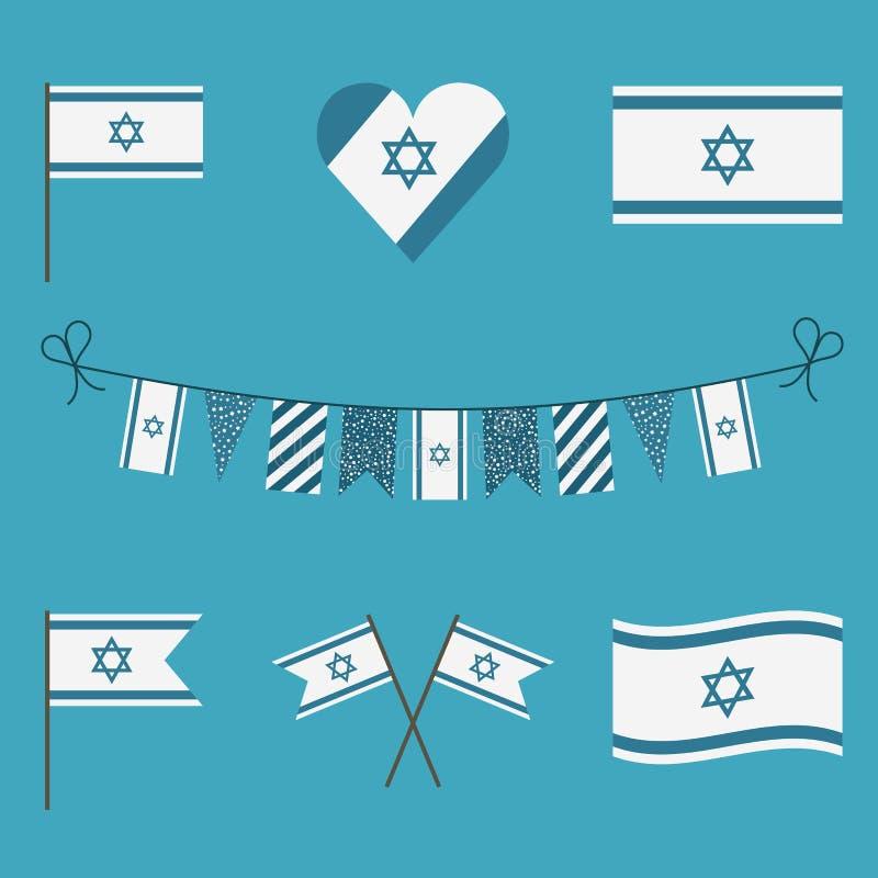 以色列旗子在平的设计的象集合 皇族释放例证