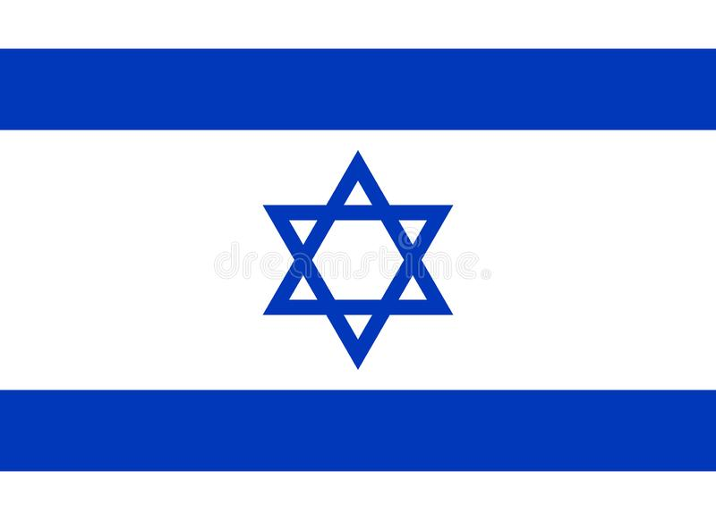 以色列旗子在正式颜色和以8:11长宽比  向量例证