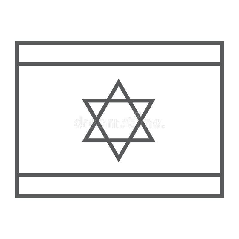 以色列旗子稀薄的线象,国民和国家,以色列旗子标志,向量图形,在白色的一个线性样式 库存例证