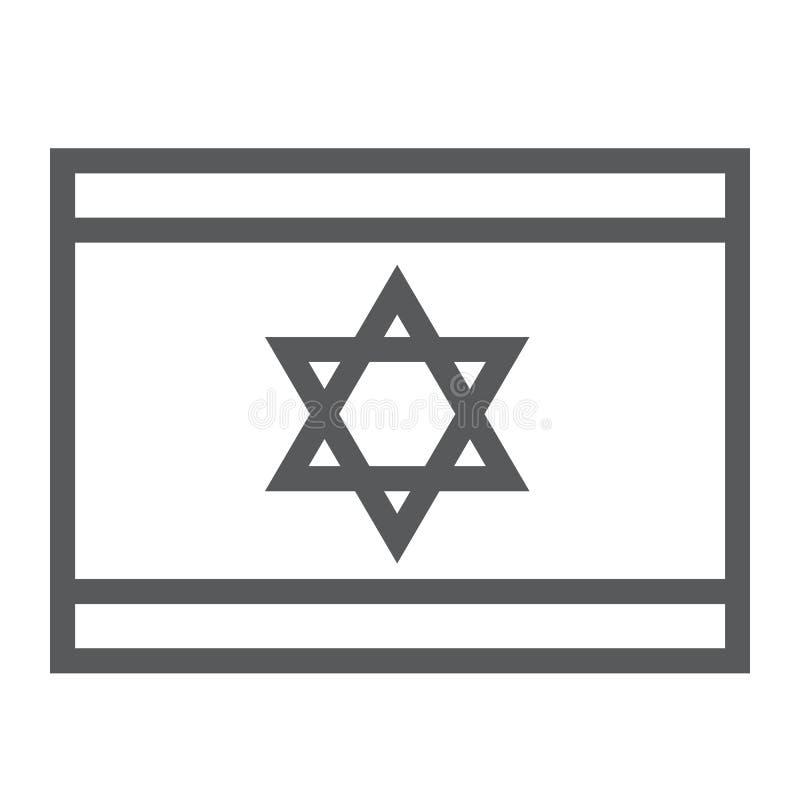 以色列旗子线象,国民和国家,以色列旗子标志,向量图形,在白色背景的一个线性样式 皇族释放例证
