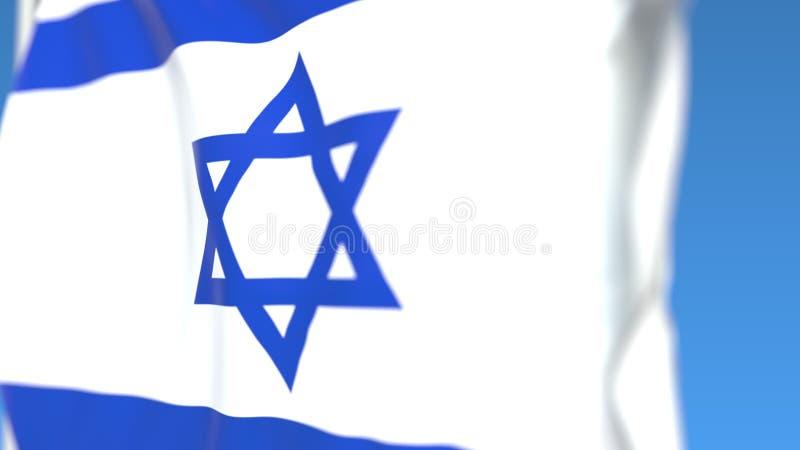 以色列特写镜头,3D挥动的国旗翻译 向量例证