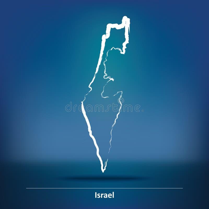 以色列的乱画地图 向量例证
