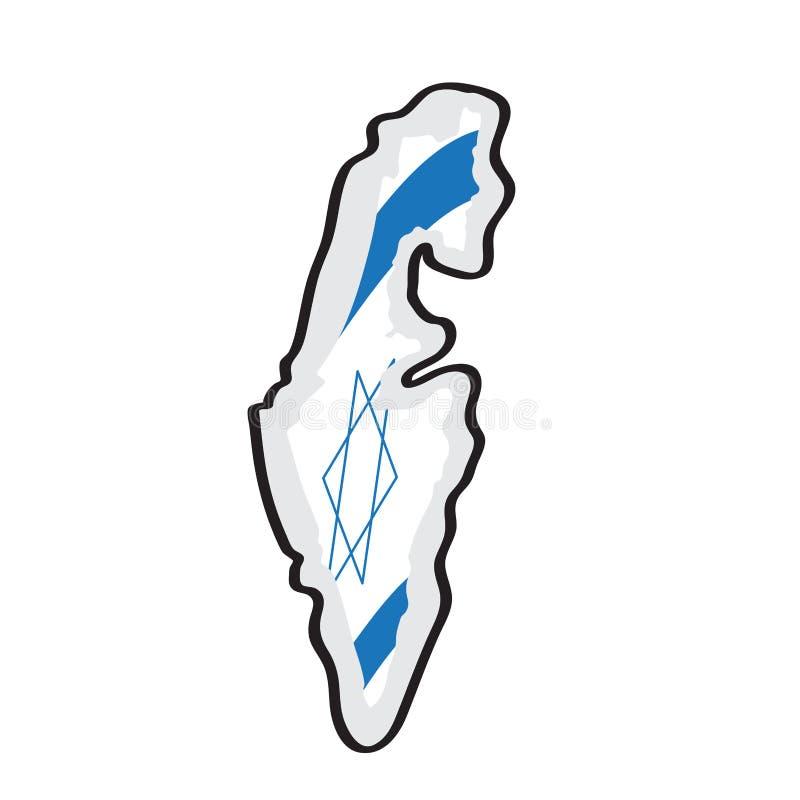 以色列的地图有它的旗子的 向量例证