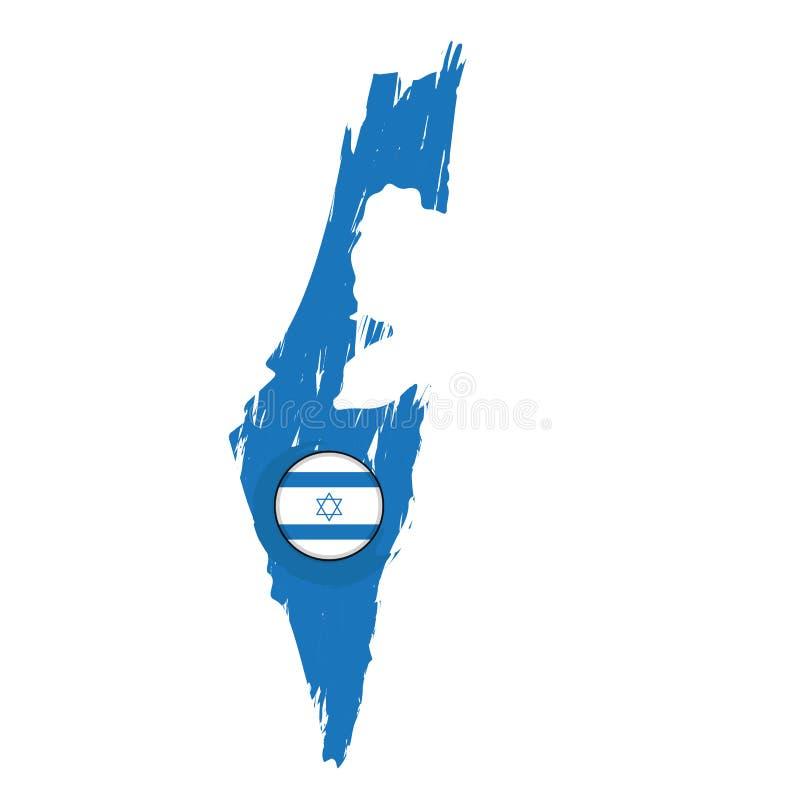 以色列的地图有标签的 向量例证