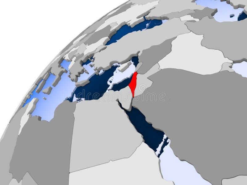以色列的地图红色的 库存例证
