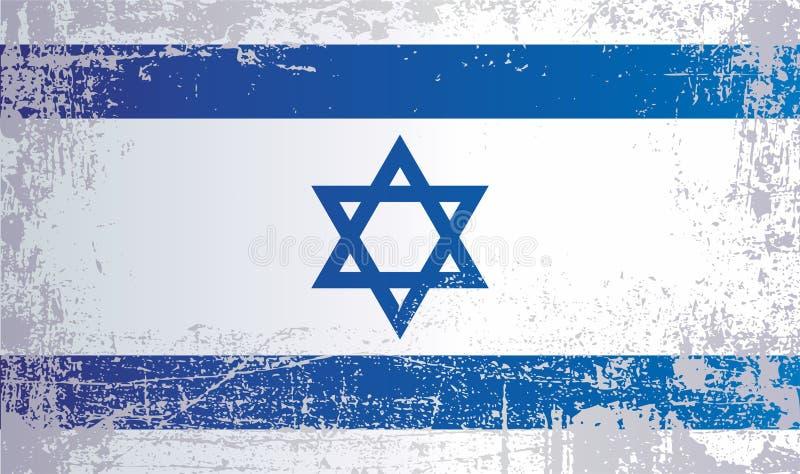 以色列的旗子,起皱纹的肮脏的斑点 库存例证