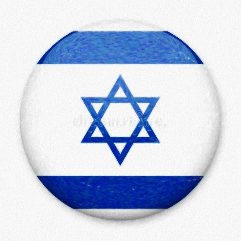 以色列的水彩旗子以一个圆的按钮的形式 皇族释放例证