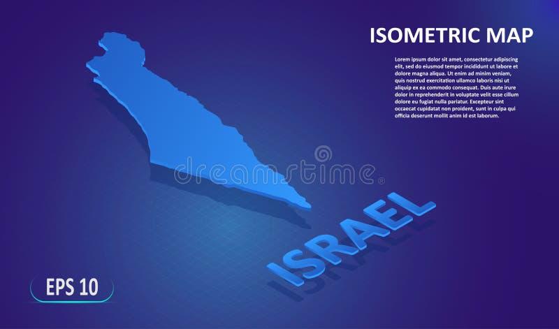 以色列的等量地图 国家的风格化平的地图蓝色背景的 现代等量3d定位图与 向量例证