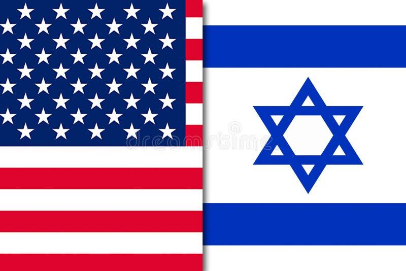 以色列的美国国旗 库存例证