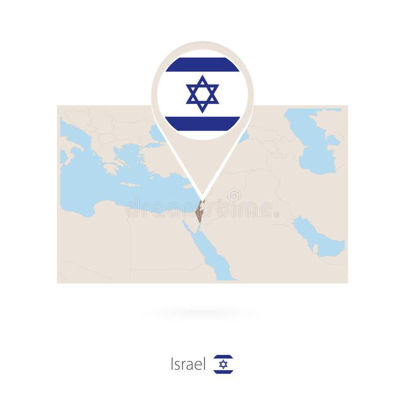 以色列的长方形地图有以色列的别针象的 皇族释放例证