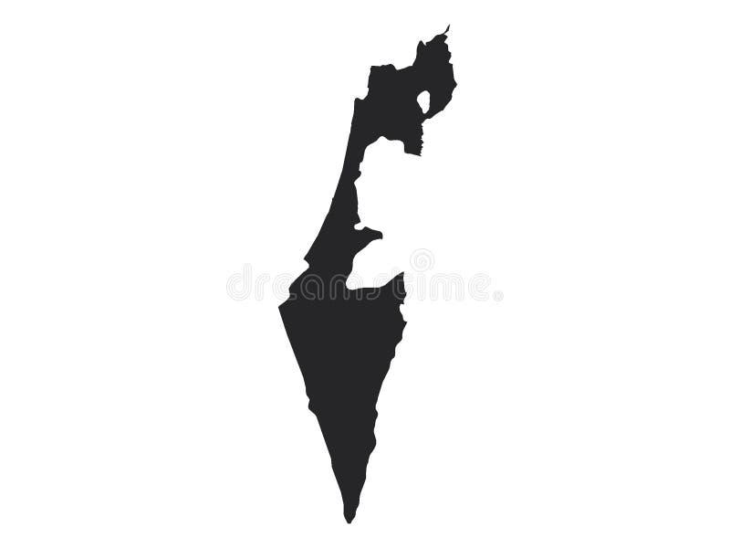 以色列的黑地图 库存例证